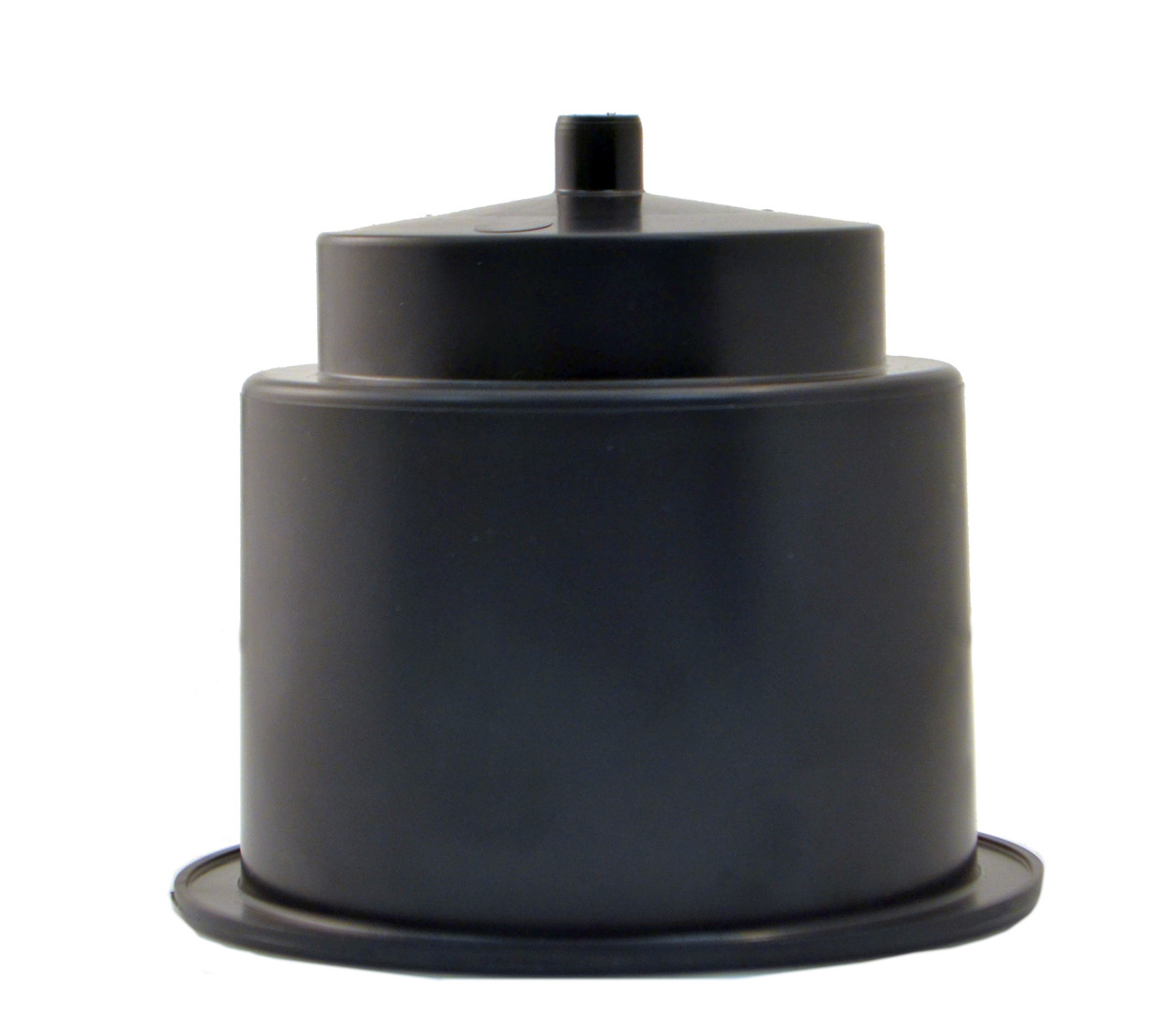 """Brand new replacement flush mount plastic cup holder with a single drain spigot. Ideal for installation in tables, chairs, outdoor seating, and private theaters. Its large drain hole can be used with tubing to direct spills and condensation without pooling up in either the cupholder or leaving puddles underneath the cup holder. These two-tiered cup holders can hold both bottles and cans. They have a 4-1/3"""" outside diameter,  a 3-1/2"""" inside diameter and are 3 3/8"""" tall. They need to be inset into a cavity between 3-3/5"""" and  4-1/4"""" in diameter."""