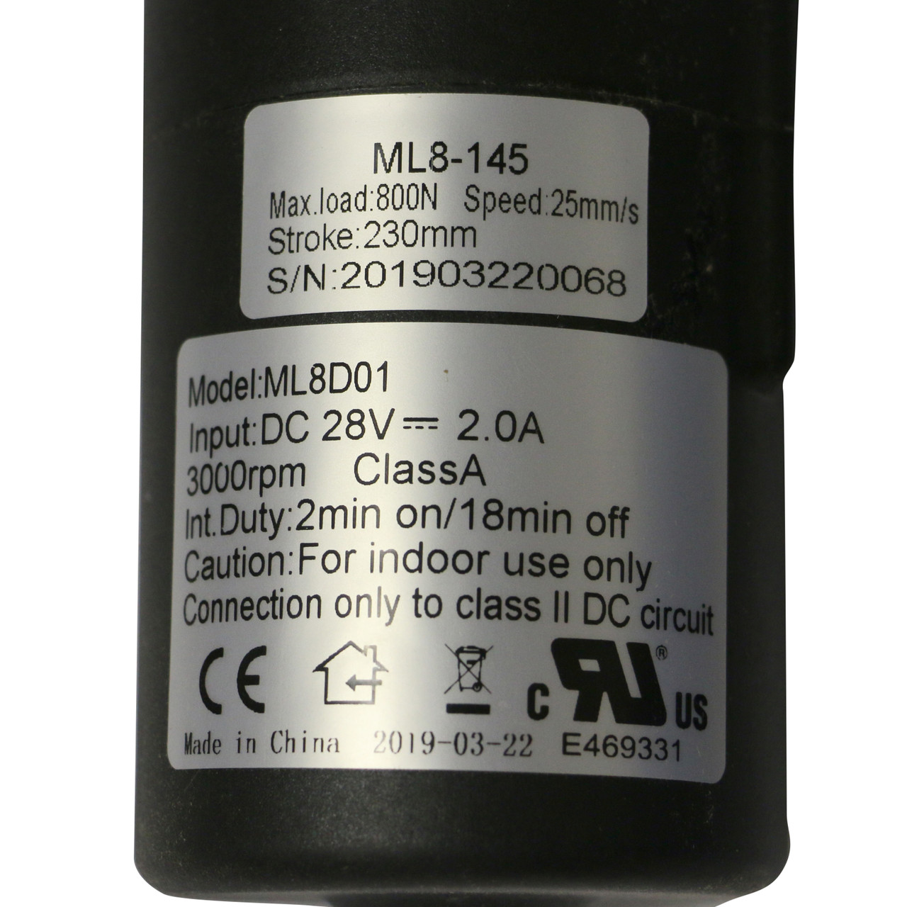 ML8-145, 230mm Stroke, 800N Max Load, DC 28V, ML8-145