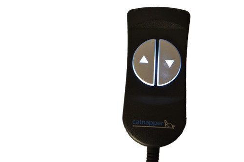 Catnapper Logo Hand Control For Power Recliners and Lift Chairs. Catnapper 2 button hand control with 5 pin style connector that connects directly to recliner motor/actuator. White LED up and down buttons will Assist those with vision impairments. Contact Customer Service For Additional Information and Bulk Pricing. Limoss 500944