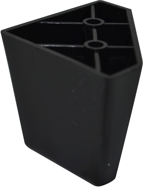 Black Plastic Diamond shaped 2.25 Inch Leg For Sofas and Recliners This leg is a modern style leg with a Black  plastic exterior. This replacement leg is 2.25 Inches tall and 3.25 Inches across the top. This Leg Connects Using 2 Wood Screws that attach into Couch or Chair Bottom ( NOT INCLUDED). Restore your couch, sofa, ottoman, or any furniture with our beautiful replacement legs. Contact Customer Service For Additional Information and Bulk Pricing.