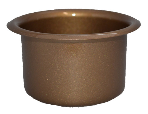 "This solid metal replacement cupholder can replace worn, stained, or broken cupholders in your sofa sectional couch, RV, or boat, or serve as a solid choice when adding cupholders to your own creation. It comes in a shining bronze stain resistant finish. This item fits into a cavity no smaller than the cupholder's 3-2/5 inch inside diameter, and no larger than the cupholder's 4-1/3 outside diameter (3-2/5""~ 4-1/3""). Height is 3-1/3 inches. Solid metal make ensures this cupholder will survive the elements and resist stains, making it ideal for both indoors and outdoors installation. Contact customer service for additional information and bulk pricing."