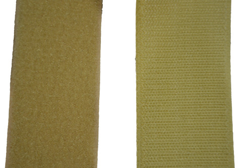 Sew On Hook and Loop For Fabric 2 Inch Wide Beige.  Includes 25 Yards of Both the Hook and Loop Material. Each is 2 Inches Wide and have Easy to Sew Style back. Designed For Upholstery However Has Many Applications. This is the Non Adhesive Style Hook and Loop Material. Very Strong Hold when Pushed Together. Material Is Flexible and can bend to Contours and Curves of Surface. Contact Customer Service For Additional Information and Bulk Pricing.