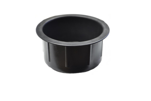 Replacement black plastic cup holder for recliners and sofas. This replacement cup holder is entirely black plastic. This cup holder measures 1.5 inches tall and 2.9 inches in diameter. The cups top lip diameter is 3.4 inches. It can be used in couches, pool tables, boats, and rv's, or any custom build.