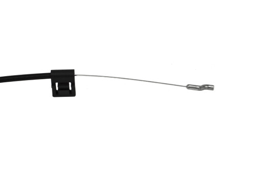 "Replacement Recliner handle cable with 5.25"" exposed wire and a metal mounting bracket. Has a 3mm barrel handle connector and requires a compatible handle. This version has a metal mounting bracket attached. Overall length is 37.5 inches and connects to the mechanism with a standard S-Tip."