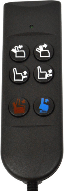"Okin 6 button five pin handset for power recliners and lift chairs. This six-button control works with many brands of recliners and lift chairs that use the standard 5 pin connector. The handset's cable has a length of 38"" and comes with a 90-degree extension cable 58"" long. Replace or repair your recliner with our replacement parts.  Okin Part Number: 1.11.000.402.30, Compatible with Infinite Position handsets like ZK756HCL"