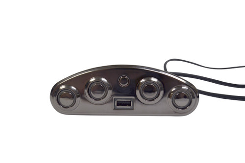 "Power hand control, this 5 button hand control is meant to be inset into a chair and can control two motors via a pair of 5 pin connectors.  This is the ""left"" unit and is typically used in a two-chair system but can be used individually. Has a USB outlet to power mobile devices and the fifth button is used to reset headrest and recline position. Part # MLSK35-G"