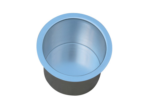 Universal replacement silver metal cup holder. This replacement cup holder measures 3 inches (80mm) tall. The inside diameter of the cup is 3 3/8 inches (85mm). The lip of the cup is 4 inches (100mm) in diameter. It will securely hold most cups, cans and 20 ounce bottles. Suitable for recliners, sofas, theater seating, tables (poker, blackjack and pool), RV's, boats, cars, trucks, and more. Contact customer service for additional information and bulk pricing.