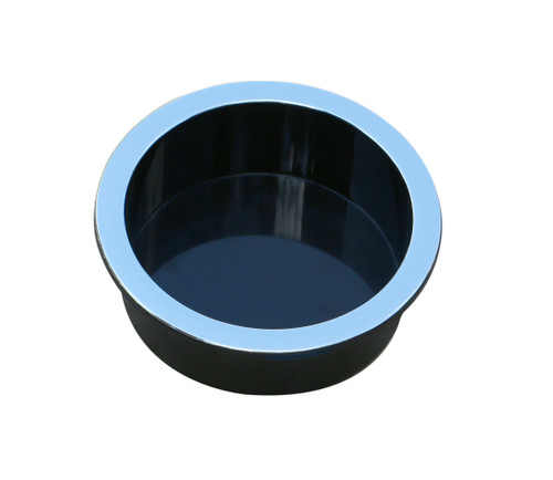 Universal Replacement Plastic Cup Holder, Chrome Lip. This replacement cup holder measures 1.5 inches (40mm) tall. The diameter of the cup is 3 3/4 inches (95mm). The lip of the cup is 4 3/8 inches (110mm) in diameter. It will securely hold most cups, cans and 20 ounce bottles. Suitable for recliners, sofas, theater seating, tables (poker, blackjack and pool), RV's, boats, cars, trucks, and more. Contact customer service for additional information and bulk pricing.