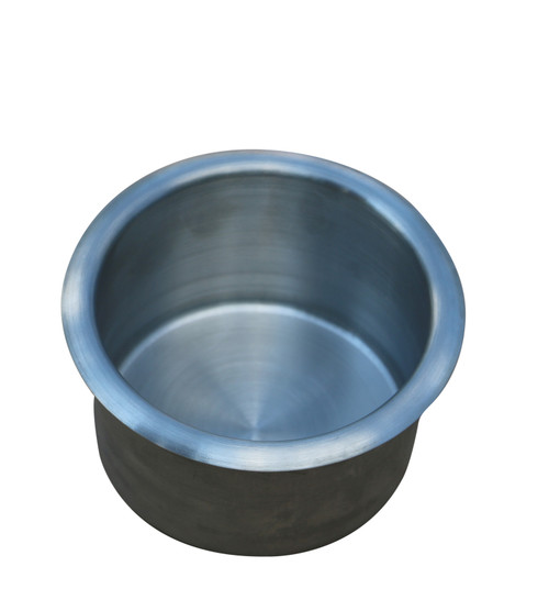 Universal replacement metal cup holder, silver. This replacement cup holder measures 2 3/8 inches (60mm) tall. The diameter of the cup is 3 1/2 inches (90mm). The lip of the cup is 4 3/8 inches (110mm) in diameter. It will securely hold most cups, cans and 20 ounce bottles. Suitable for recliners, sofas, theater seating, tables (poker, blackjack and pool), RV's, boats, cars, trucks, and more. Contact customer service for additional information and bulk pricing.