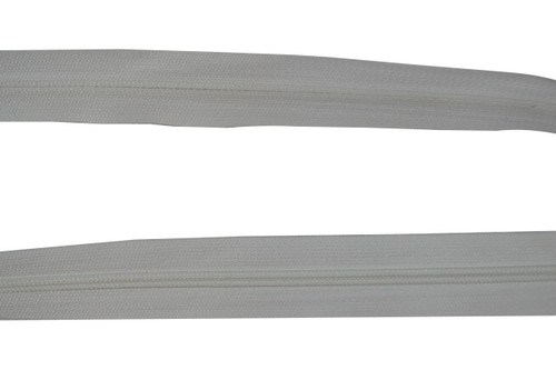 Dunlap White Sew on Style Plastic Tooth Zipper Size #4 for Upholstery Cushions. This is High Quality Sew On Style Zipper. This is a 5 Yard Section of Zipper. This Zipper is 1 Inch Wide. The Zipper Teeth are a Hardened Plastic. The Fabric of Zipper is Nylon. This is a Universal Zipper That can Be used for Many Applications Including  pants, skirts, fine garments, cushions, clutch handbags and More. Contact Customer Service For additional Information and Bulk Pricing.