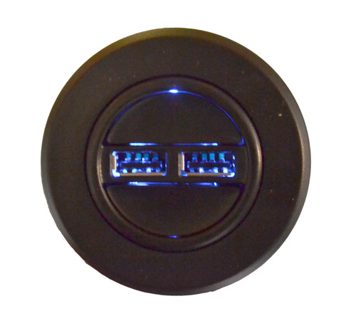 Raffel brand round 2 button handset for power recliners and sofas. Features 2 power USB ports, and blue LED backlighting. This power furniture handset will work with any brand that uses the round 5 pin style connector. Raffel PRS R USB