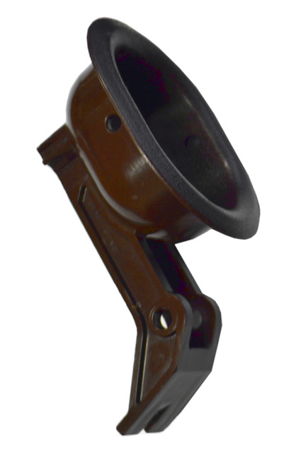 Bowl-shaped flapper head component used to create 3mm Barrel flapper handle. This one comes in brown and is to be used with a  matching brown lever and a 6mm metal dowel.  Useful for replacing worn or broken handles when you've already got matching parts.