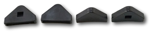 """Set of 4 Protective Recliner Base Foot Caps. Caps are Triangular and measure 2""""x1.5""""x.5"""" (LxWxH) Black Plastic Design With Rounded Front Edge. Replace your old feet caps to help preserve the durability of the legs on your furniture as well as protect your Hardwood floors From Scratches and Scuffs.  Contact Customer Service For Additional Information and Bulk Pricing."""
