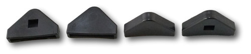 "Set of 4 Protective Recliner Base Foot Caps. Caps are Triangular and measure 2""x1.5""x.5"" (LxWxH) Black Plastic Design With Rounded Front Edge. Replace your old feet caps to help preserve the durability of the legs on your furniture as well as protect your Hardwood floors From Scratches and Scuffs.  Contact Customer Service For Additional Information and Bulk Pricing."