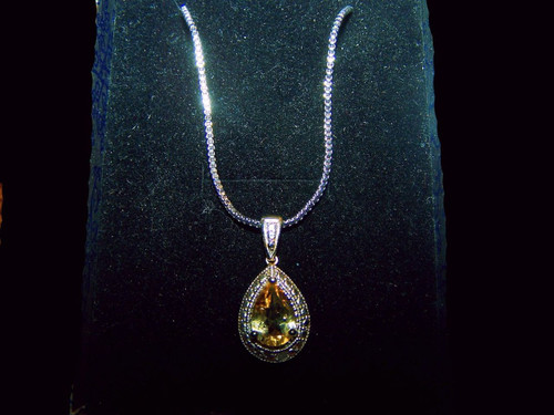 Natural Citrine and Diamond Pendant - 19 inches