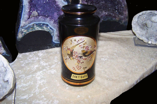 Chokin Art Vase - Gloss Black, 24K gold, bird motif, 6 inches