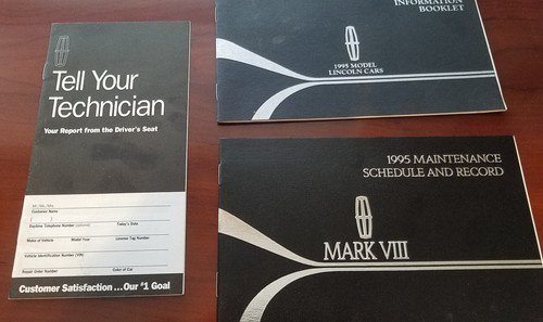 1995 Lincoln Mark VIII Owners Manual Inserts