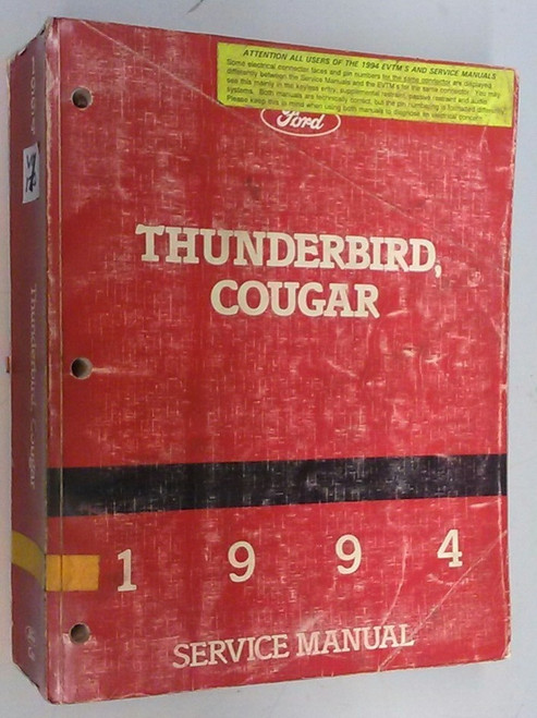 1994 Thunderbird  Cougar OEM Car Shop Manual - FPS-12196-94 - WWW.TBSCSHOP.COM