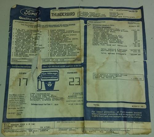 Window Sticker - 1989 Thunderbird SC - WWW.TBSCSHOP.COM