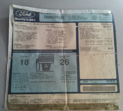 Window Sticker - 1995 Thunderbird SC - WWW.TBSCSHOP.COM