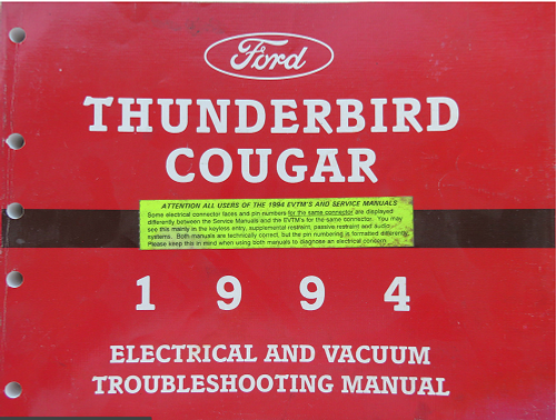 1994 Thunderbird  Cougar Electrical & Vacuum Manual - FPS-12116-94 - WWW.TBSCSHOP.COM
