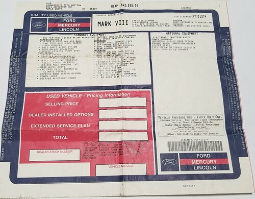 1997 Lincoln Mark VIII Dealer Window Sticker