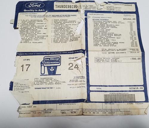 1991 Thunderbird SC 3.8L Supercharged 5-spd Transmission Window Sticker