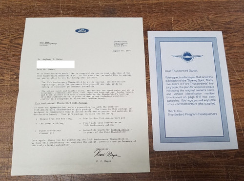 1990 Thunderbird 35th Anniversary Dealer Welcome Thank you Letter