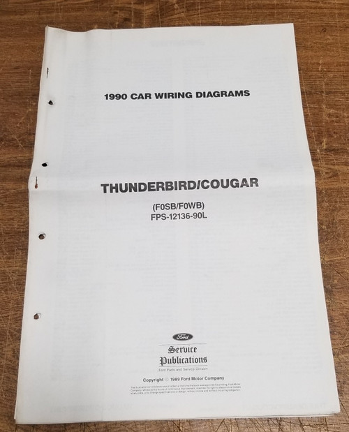 "1990 Thunderbird Cougar Wiring Diagram 27"" x 11"" FPS-12136-90L"