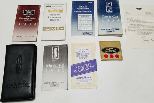 1989 Lincoln Mark VII Owners Manual with extras