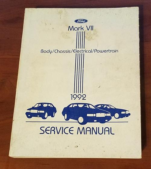 1992 Lincoln Mark VII Service Shop Manual FPS-12192-92