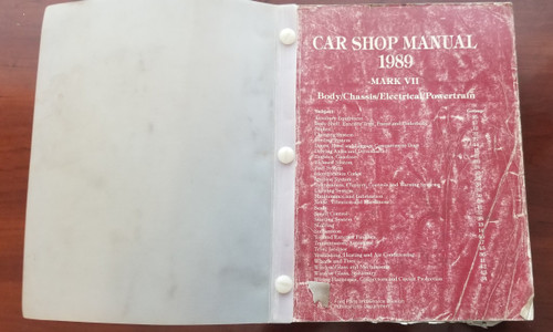 1989 Lincoln Mark VII Service Shop Manual FPS-12192-89