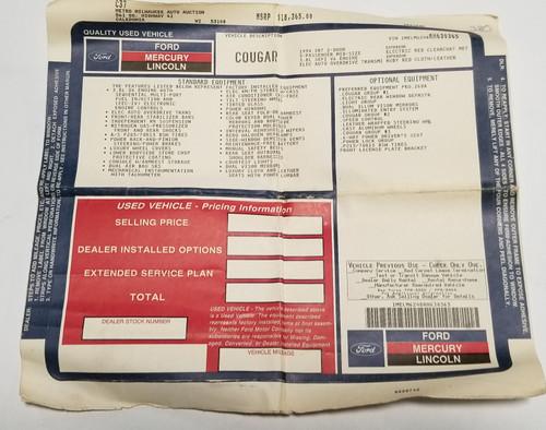 1994 Mercury Cougar  XR7 Dealer Window Sticker