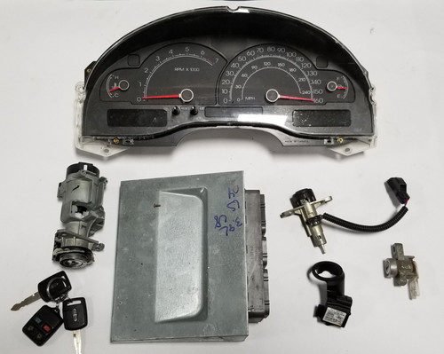 2004 LINCOLN LS 3.9L V8 CLUSTER IGNITION WITH KEY KIT ECM ECU EEC 4W4A-12A650-BUB