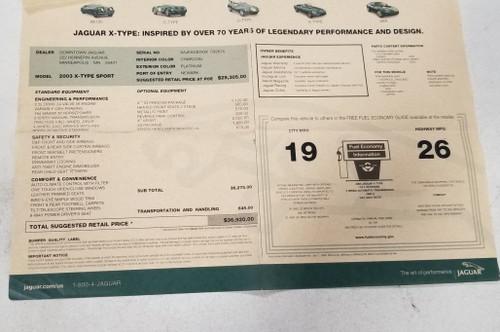 2003 Jaguar X-TYPE Sport V6 2.5L Original Dealer Window Sticker