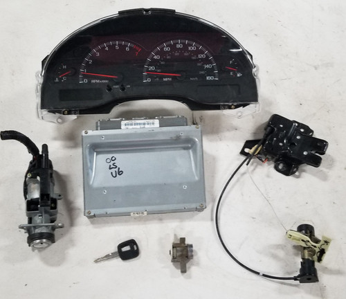 2000 LINCOLN LS EEC Computer 3.0L V6 Key Lock Ignition Trunk Door Cluster Set