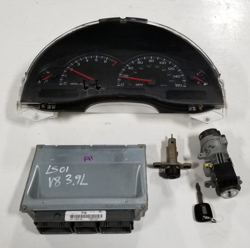2001 LINCOLN LS Computer 3.9L V8 Key Ignition Trunk Cluster Kit 1W4A-12A650-AMA PCM