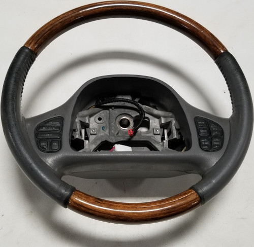 1999-2002 Lincoln Continental steering wheel WOOD graphite with radio climate buttons