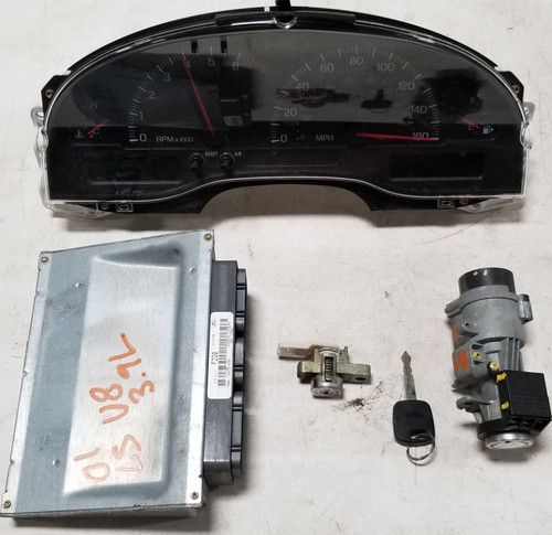 2001 LINCOLN LS Computer 3.9L V8 Key Door Key Ignition Cluster Kit 1W4A-12A650-ANA FZG0