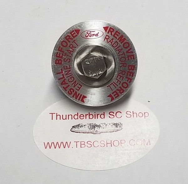 Thermostat Housing Aluminum Bleed Cap with SS Bleed Screw - 3.8L - 1989 - 1997 Thunderbird and Cougar - WWW.TBSCSHOP.COM
