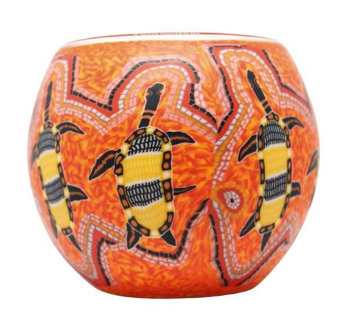 Glass Illusion Votive 'Dot Painted Turtle on Orange' #26