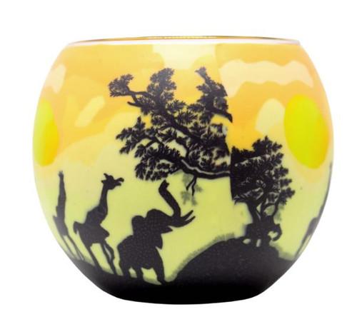 Glass Illusion Votive African Elephants & Giraffes #29