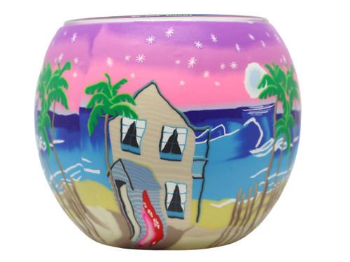 Glass Illusion Votive 'Beach hut, pink skies, surfboard & stars' #33