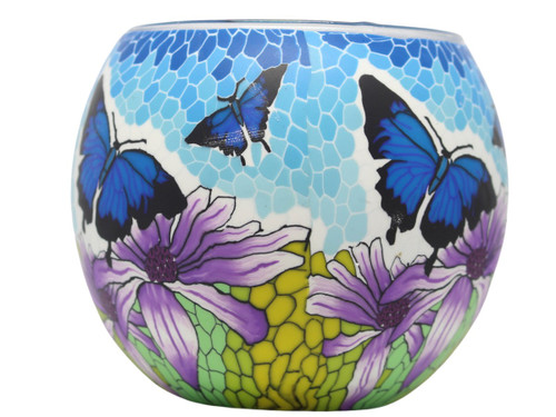Glass Illusion Votive 'Blue Butterflies' #37