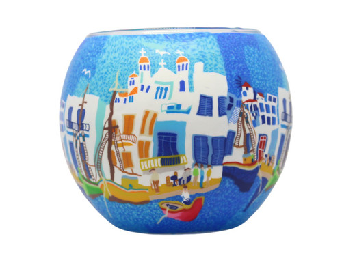 Glass Illusion Votive 'Church Roof Tops & Harbour' #38