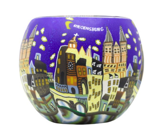 Glass Illusion Votive 'Recensburg, Blue Skies & Stars' #47