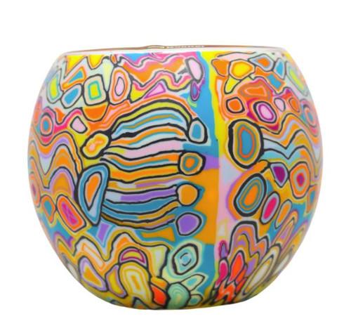 Glass Illusion Votive 'Orange Circles & Swirls' #49