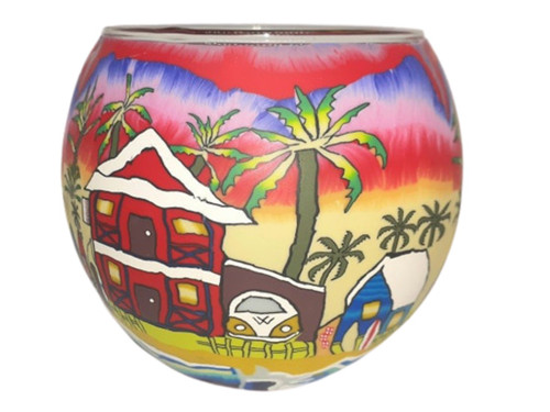 Glass Illusion Votive ' Red Skies & Summer Times' #62