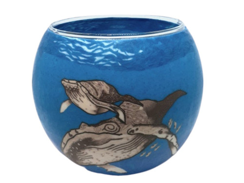 Glass Illusion Votive ' Blue Whale & Baby' #90
