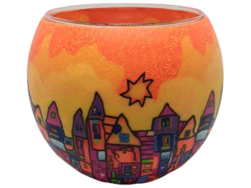 Glass Illusion Votive ' Bright Town & Buildings' #66